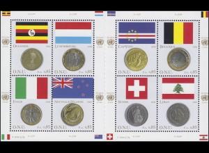 UNO Genf 553-560 Flaggen und Münzen I 2006, Kleinbogen mit Zwischensteg **