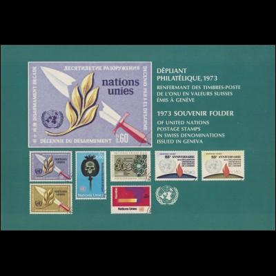 UNO Genf Jahressammelmappe 1973, postfrisch **