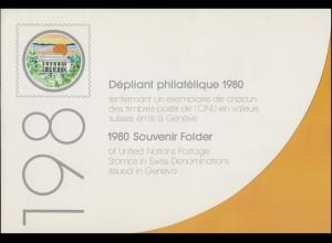 UNO Genf Jahressammelmappe 1980, gestempelt