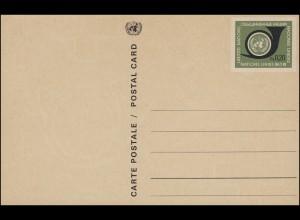UNO Genf Postkarte P 1Y Posthorn 0,20 Franken 1969, Wz. 2, ungebraucht **