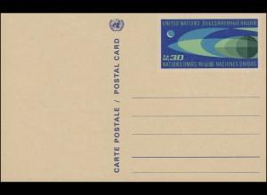 UNO Genf Postkarte P 2 Erdkugel und Mond 0,30 Franken 1969, ungebraucht **