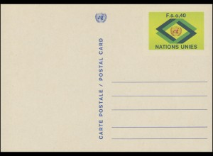 UNO Genf Postkarte P 3x UNO-Emblem und Rauten 0,40 Franken 1977, ungebraucht **