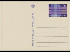 UNO Genf Postkarte P 4 UNO-Emblem und Bänder 0,70 Franken 1977, ungebraucht **