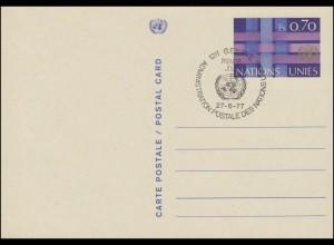 UNO Genf Postkarte P 4 UNO-Emblem und Bänder 0,70 Franken 1977, ESSt 27.6.1977