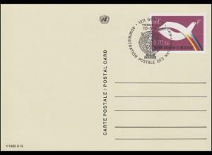 UNO Genf Postkarte P 6 Friedenstaube 0,70 Franken 1985, ESSt 10.5.1985