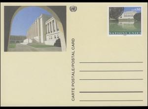UNO Genf Postkarte P 10 Palais des Nations 0,80 Franken 1993, ungebraucht **