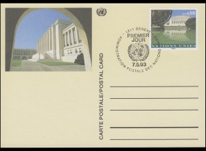 UNO Genf Postkarte P 10 Palais des Nations 0,80 Franken 1993, ESSt 7.5.1993