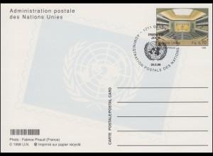 UNO Genf Postkarte P 13 Sitzungssaal 0,70 Franken 1998, ESSt 20.5.1998