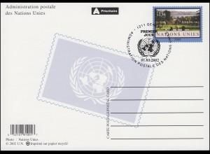 UNO Genf Postkarte P 15 Ariana-Park 1,30 Franken 2002, ESSt 1.3.2002