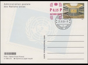 UNO Genf Postkarte P 16 Sitzungssaal 0,70 + 0,15 Franken 2004, ET-O 21.9.2004