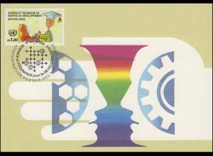 MK 13 von UNO Genf 222 Wissenschaftler am Computer 1992, amtliche Maximumkarte