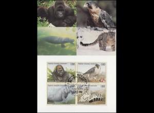 MK 17 von UNO Genf 227-230 Gefährdete Arten Fauna 1993, amtliche Maximumkarte