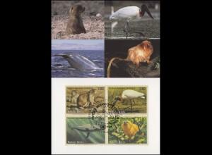 MK 23 von UNO Genf 245-248 Gefährdete Arten Fauna 1993, amtliche Maximumkarte