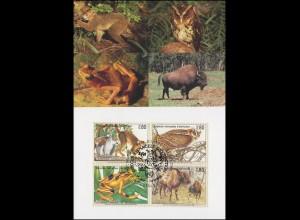 MK 30 von UNO Genf 263-266 Gefährdete Arten Fauna 1995, amtliche Maximumkarte