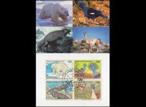 MK 48 von UNO Genf 305-308 Gefährdete Arten Fauna 1997, amtliche Maximumkarte