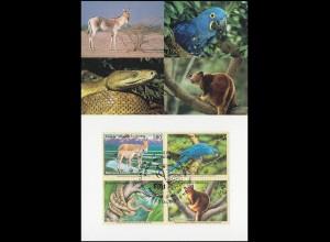 MK 60 von UNO Genf 369-372 Gefährdete Arten Fauna 1999, amtliche Maximumkarte