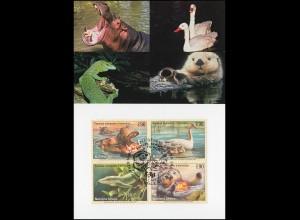 MK 63 von UNO Genf 385-388 Gefährdete Arten Fauna 2000, amtliche Maximumkarte