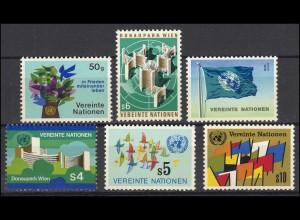 1-6 UNO Wien Jahrgang 1979 komplett, postfrisch **