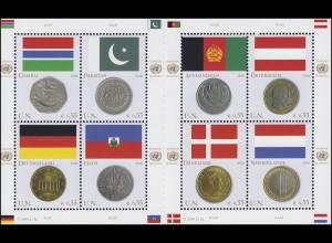 UNO Wien 477-484 Flaggen und Münzen I 2006, Kleinbogen mit Zwischensteg **