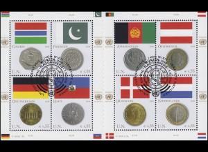 UNO Wien 477-484 Flaggen und Münzen I 2006, Kleinbogen mit Zwischensteg ESSt
