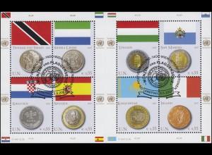 UNO Wien 489-496 Flaggen und Münzen II 2007, Kleinbogen mit Zwischensteg ESSt