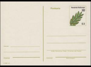 UNO Wien Postkarte P 1 Olivenzweig 3 Schilling 1982, ungebraucht **