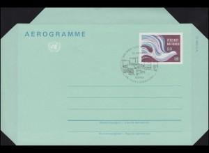 UNO Wien Luftpostfaltbrief LF 1 Friedenstaube 9 Schilling 1982, FDC 28.4.1982