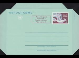 UNO Wien Luftpostfaltbrief LF 2 Friedenstaube 9+2 Schilling 1986, ungebraucht **