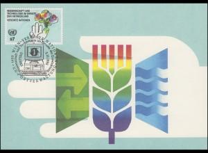 MK 15 von UNO Wien 136 Hand mit Blumenstrauß 1992, amtliche Maximumkarte