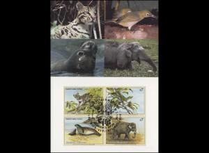 MK 24 von UNO Wien 162-165 Gefährdete Arten Fauna 1994, amtliche Maximumkarte