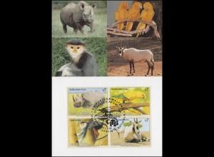 MK 31 von UNO Wien 180-183 Gefährdete Arten Fauna 1995, amtliche Maximumkarte