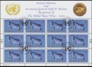 UNO New York 888 Friedensnobelpreis 2001 an die Vereinten Nationen, Bogen ESSt