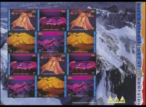 UNO New York 896-899 Jahr der Berge 2002, ZD-Bogen **