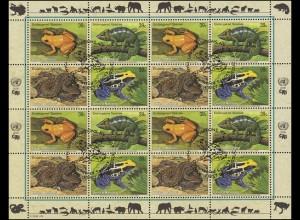 UNO New York 1015-1018 Gefährdete Arten XIV - Amphibien Reptilien, ZD-Bogen ESSt