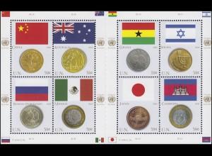 UNO New York 1033-1040 Flaggen und Münzen 2006, Kleinbogen mit Zwischensteg **