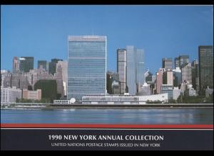 UNO New York Jahressammelmappe Souvenir Folder 1990, postfrisch **