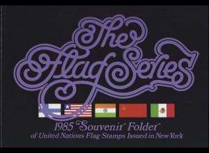 UNO New York Mappe Flaggen 1985, postfrisch **
