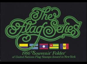 UNO New York Mappe Flaggen 1986, postfrisch **