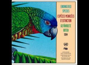 UNO Mappe Gefährdete Arten 1994, gestempelt