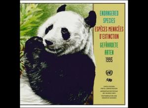 UNO Mappe Gefährdete Arten 1995, gestempelt