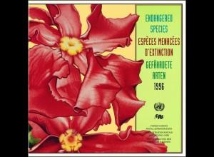 UNO Mappe Gefährdete Arten 1996, gestempelt