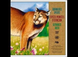 UNO Mappe Gefährdete Arten 1997, gestempelt