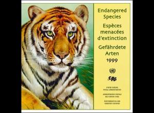 UNO Mappe Gefährdete Arten 1999, gestempelt