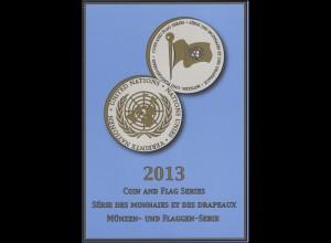 UNO Mappe Flaggen und Münzen 2013, gestempelt