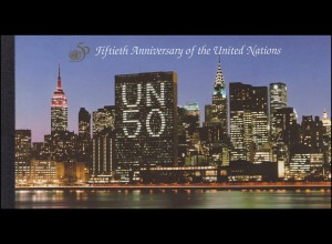UNO New York Markenheftchen 1 Jubiläum 50 Vereinte Nationen 1995, **
