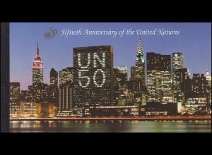 UNO New York Markenheftchen 1 Jubiläum 50 Vereinte Nationen 1995, **