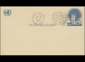 UNO New York Postkarte P 1 UNO-Hauptquartier 2 Cent blau 1952, FDC 18.7.1952