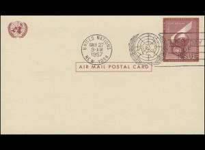 UNO New York Luftpostkarte LP 1 Erde 4 Cent 1957, FDC 27.5.1957