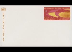 UNO New York Luftpostkarte LP 5 Erdkugel und Mond 11 Cent 1966, ungebraucht **