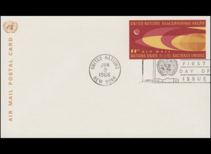 UNO New York Luftpostkarte LP 5 Erdkugel und Mond 11 Cent 1966, FDC 9.6.1966
